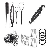 Mmrm Black Hair Styling Accessories Kit Set Hair Braid Tool for DIY