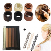 SHERUI Hair Bun Maker, 10pcs Bun Maker Hair Bun Shapers Women Girls Donut Hair Bun Maker Magic DIY Curler Roller Hairstyle Tools