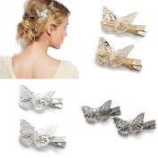 Coobbar 6pcs Hairwear Hair Grips Metal Gold Colour Butterfly Hair Clip Hairpins