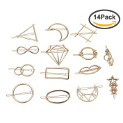 ANBALA 14pcs Minimalist Dainty Gold Geometric Metal Hairpin Hair Clip Clamps for Women Girls, Circle, Triangle, Rhombus, Star, Moon, Diamond, Infinity etc
