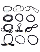 12 pcs Fancyin Assorted Black Popular Pony-hair Holders Hair Ties Elastic Hair-Bands for women