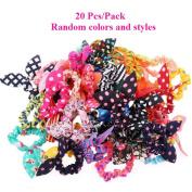 AKOAK 20 Pcs Per Pack Lovely Baby Girl's Rabbit Ear Hair Tie Bands Polka Dot Leopard Trip Ponytail Holder