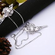 Vintage Inspired Silver Crystal Studded Hair Pins with Rhinestone Chains by Texas Gypsy