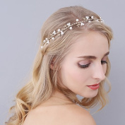 Drhob Pearl Bride Hairpin Headdress Hair Ornament Vine Leaves Headband Bridal Accessories Headpieces for Brides, Girlfriend, Wife, Mom, Girl, Women