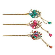cici store 1PC Classical Retro Women Elegant Pin Colourful Hairpin Rhinestone Hair Stick