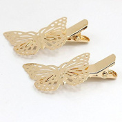 2PCS Left Butterfly - 2PCS Gold Silver Butterfly Hair Clip Hair Pin Bride Hair Accessories Jewellery