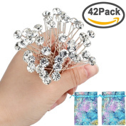 40pcs Bridal Wedding Hair Pins Rhinestone Hair Clips with 2 Jewellery Bags U-shaped Design Collection Crystal Hair Pins Clips Accessories for Women and Girls