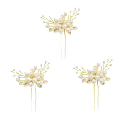 VANKOKO Pearl Leaf Bridal Hair Pins Headpiece Wedding Hair Accessories Gold