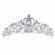 LOAVER Rhinestone Crystal Tiara Crown Headband for Wedding Bridal Pageant Prom