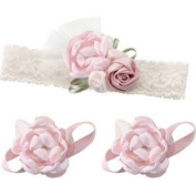 Lillian Rose 24HB100 PI Baby Headband & Barefoot Sandals - Pink