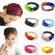 Flyusa Women Girls Elastic Contrast Colour Cross Twist Headband Head Wrap Twisted Knotted Knot Soft Yoga Sport Hair Band
