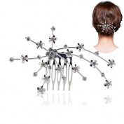 Coobbar Wedding Bridal Rhinestones Decorated Floral Hair Comb Clip Hair Pin