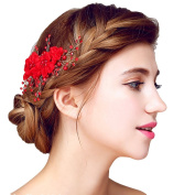 YAZILIND Beauty Bridal Hair Comb Red Lace Flowers Rhinestones Wedding Hair Accessories Party for Women