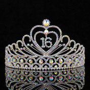 Janefashions Sweet Sixteen 16 Birthday Party Rhinestone Tiara Crown Hair Combs AB White T1629AB