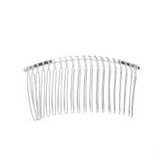 VANKOKO 7.8cm 20 Teeth Fancy DIY Metal Wire Hair Clip Comb Bridal Wedding Veil Comb (Silver)
