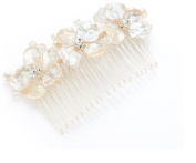 Elegant Bridal Shell Hair Comb with Clear Crystals and Pearl