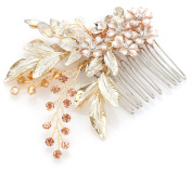 Gorgeous Handmade Crystal & Floral Bridal Comb - Top-Selling Wedding Headpiece for Brides