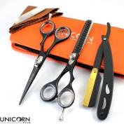 Unicorn Plus!! Save 40% on Professional Hairdressing Scissors 14cm inch + FREE Shaver - Classical Barber Salon Scissors Razor Edge - Elegantly Designed Scissors in Coal Black comes in Attractive Case