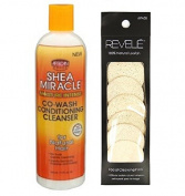 African Pride Shea Miracle Co-Wash Conditioning Cleanser 350ml with Loofah facial cleasing pads