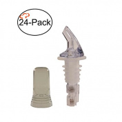 Tiger Chef 24-Pack Plastic Measured Liquor Pourer without Collar, 30ml Clear, Precision Wine Bottle Pour Spout with Pourer Dust Covers