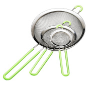 Ipow Stainless Steel Fine Tea Mesh Strainer Colander Sieve with Silicone Handle for Kitchen Food Rice Vegetable,Set of 3