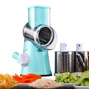 Kihappy Adjustable Vegetable Cutter Chopper Manual Hand Speedy Mandoline Slicer Grater With 3 Round Stainless Steel Blades