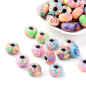 Kissitty 100-Piece Mixed Style Flower Printed Polymer Clay European Beads with Platinum Plated Brass Core 15~16mm Dia. Large Hole Charms Beads Spacers for DIY Jewellery Making