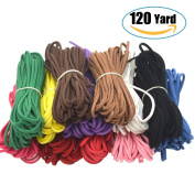 120 Yard 12 Colour Suede Cord Lace Leather Cord, Doubletwo Beading Thread Jewellery Making Beading Craft Thread String- 3mm Width, Each Colour 10 Yard