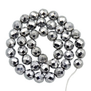 """AD Beads Natural Faceted & Smooth Metallic Hematite Round Gemstone Loose Beads 16"""" 2mm 3mm 4mm 6mm 8mm 10mm (10mm, Metallic Silver"""