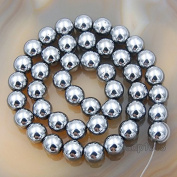 """AD Beads Natural Faceted & Smooth Metallic Hematite Round Gemstone Loose Beads 16"""" 2mm 3mm 4mm 6mm 8mm 10mm (8mm, Metallic Silver"""