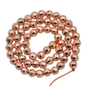 """AD Beads Natural Faceted & Smooth Metallic Hematite Round Gemstone Loose Beads 16"""" 2mm 3mm 4mm 6mm 8mm 10mm (6mm, Metallic Rose Gold"""