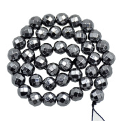 """AD Beads Natural Faceted & Smooth Metallic Hematite Round Gemstone Loose Beads 16"""" 2mm 3mm 4mm 6mm 8mm 10mm (10mm, Natural Colour"""