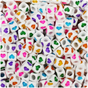 BEADTIN White Opaque w/Coloured Hearts 6mm Cube Pony Beads
