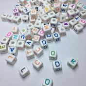 Letter Beads Colourful Acrylic White Alphabet Colourful Letter Cube Beads 'A-Z' Craft for DIY Projects