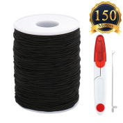 SUBANG 150 Metres Elastic Cord Stretch Thread Beading Cord Fabric Crafting String with scissors and threading tool,0.8mm,Black