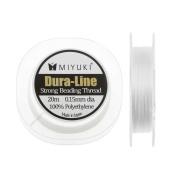 "Miyuki Dura-Line Braided Beading Thread, 8.2kg Test 0.15mm (0.006"") Thick, 20 Metres, White"