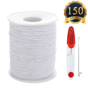 SUBANG 150 Metres Elastic Cord Stretch Thread Beading Cord Fabric Crafting String with scissors and threading tool,0.8mm,White