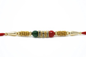 Excellent Rakhi for brother - Beautiful designer Rakhi With Red and Green Beads in red thread - Rakhdi Pack of 3