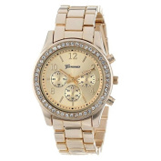 Womail Classic Business Round Ladies Crystals Quartz Wrist Watch, Stainless Steel Case