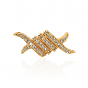 SouthBeat Micro Pave Ribbon Shaped Bracelet Connector Beads Clear CZ Cubic Zirconia for Men Women Bracelets Charm Beads 21x9mm