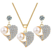 Peach heart Artificial pearl set