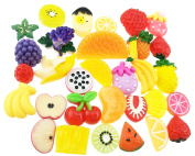 31 Pieces Cute Fashion Mixed Resin Flatback Diy Handwork Imitation Fruit Cellphone Decoration Beads Button Embellishments