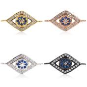 SouthBeat Jewellery Accessories Charms fits Original Bracelet Micro Pave Zircon Blue Evil Eye Charm Connectors for Women Men DIY Making 16x10mm 5Pcs MixColor