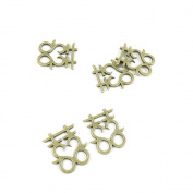 20 PCS Jewellery Making Charms Ancient Antique Bronze Fashion Jewellery Making Crafting Charms Findings Bulk for Bracelet Necklace Pendant A01239 Double Happiness