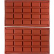 Funshowcase 20 Cavities Rectangular Cake Pan Soap Candy Chocolate Bar Silicone Moulds 5.1cm Set