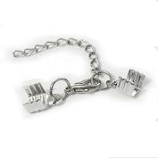 20pcs Necklace Bracelet Flat Leather Cord Crimp ends extended extension chains tails caps lobster clasp swivel hooks