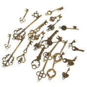 MagiDeal 26 Pieces Retro Mixed Key Shape Charms Antique Bronze Alloy Pendants Findings Craft