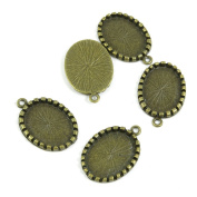 350 PCS Jewellery Findings Ancient Antique Bronze Fashion Jewellery Making Crafting Charms Findings Bulk for Bracelet Necklace Pendant A00110 Oval Cabochon Frame Blanks