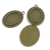 160 PCS Jewellery Findings Ancient Antique Bronze Fashion Jewellery Making Crafting Charms Findings Bulk for Bracelet Necklace Pendant A00117 Oval Cabochon Frame Blanks 25x18MM