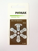 Phonak Mercury Free Size 312 Zinc Air Hearing Aid Batteries